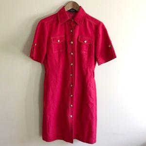Tahari Red Button Down Professional Shirt Dress